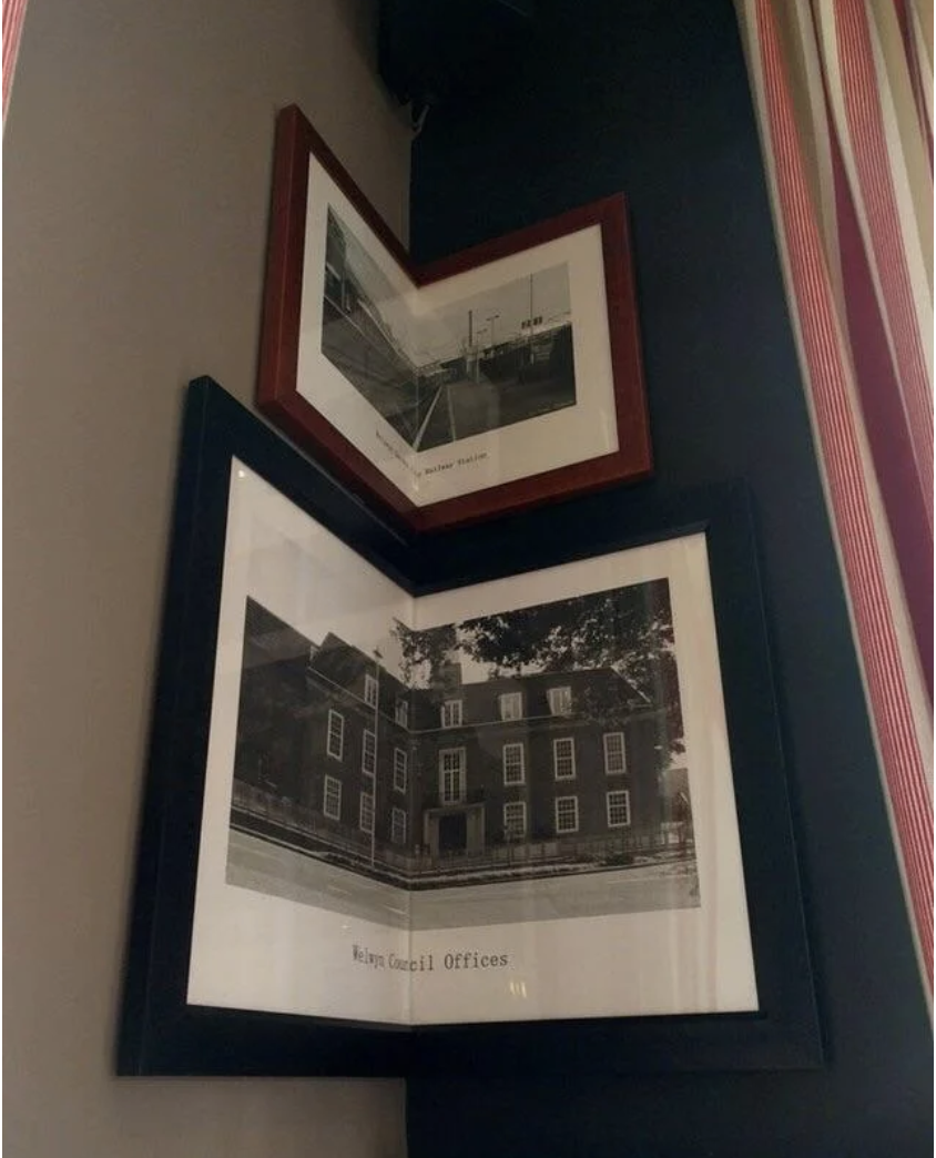 Frames that are altered to fit in the corner of a room