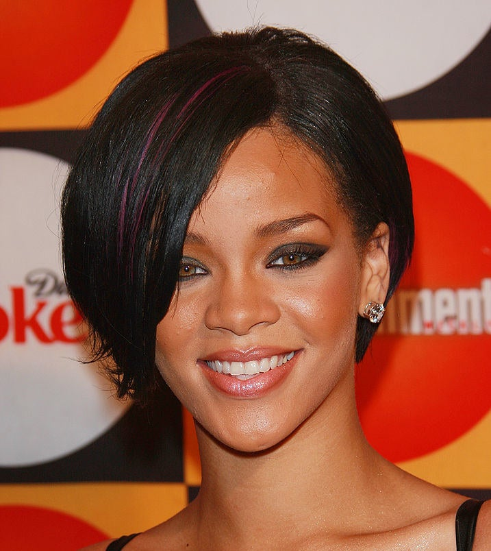 Here, Rihanna has a bright color just peeking out from her bangs