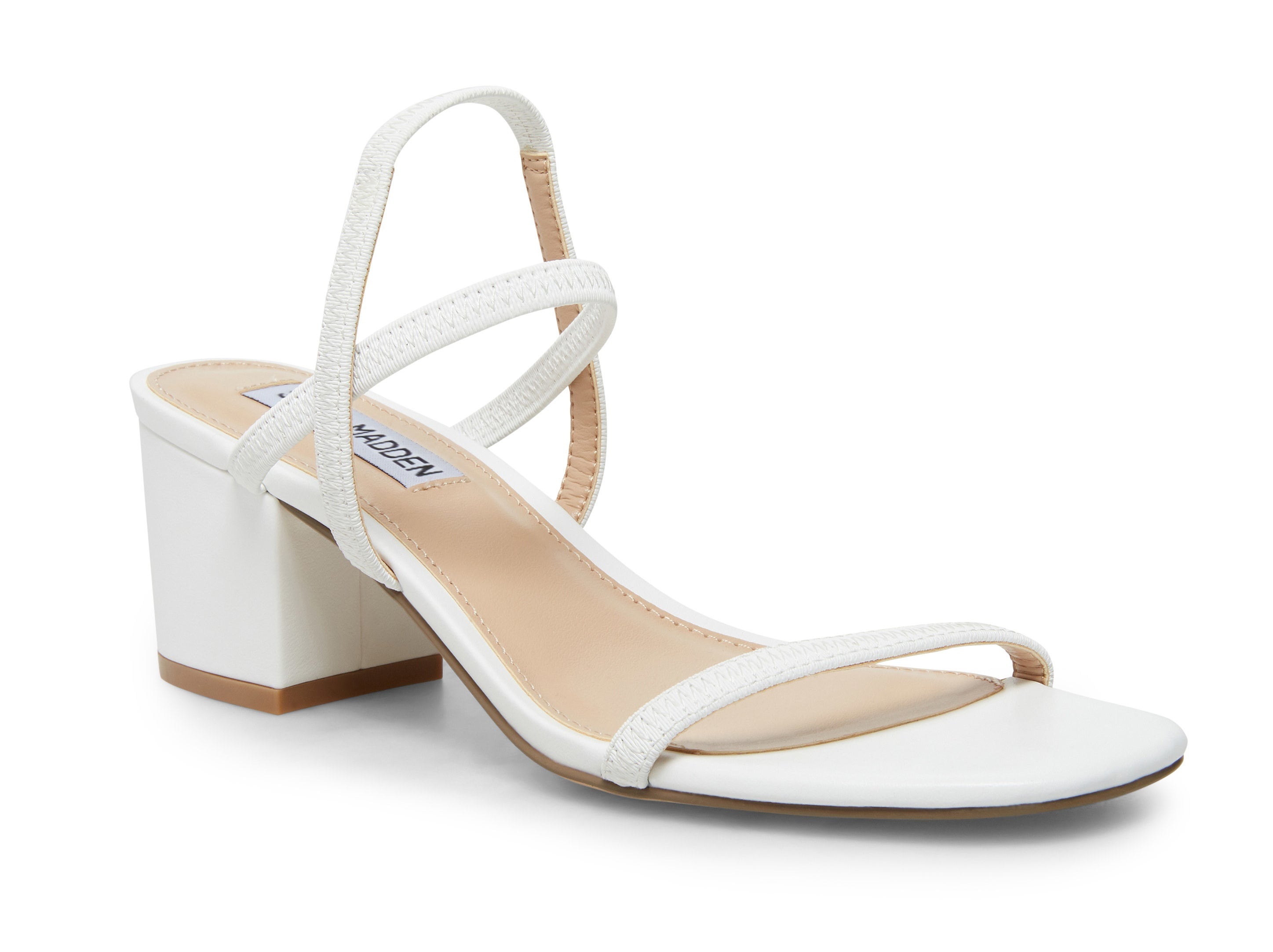 A white sandal with a block heel