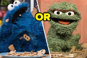 Cookie Monster is on the left eating cookies while Oscar is on the right smiling