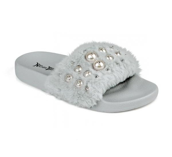 A light gray fuzzy slip-on sandal with faux-pearl beading