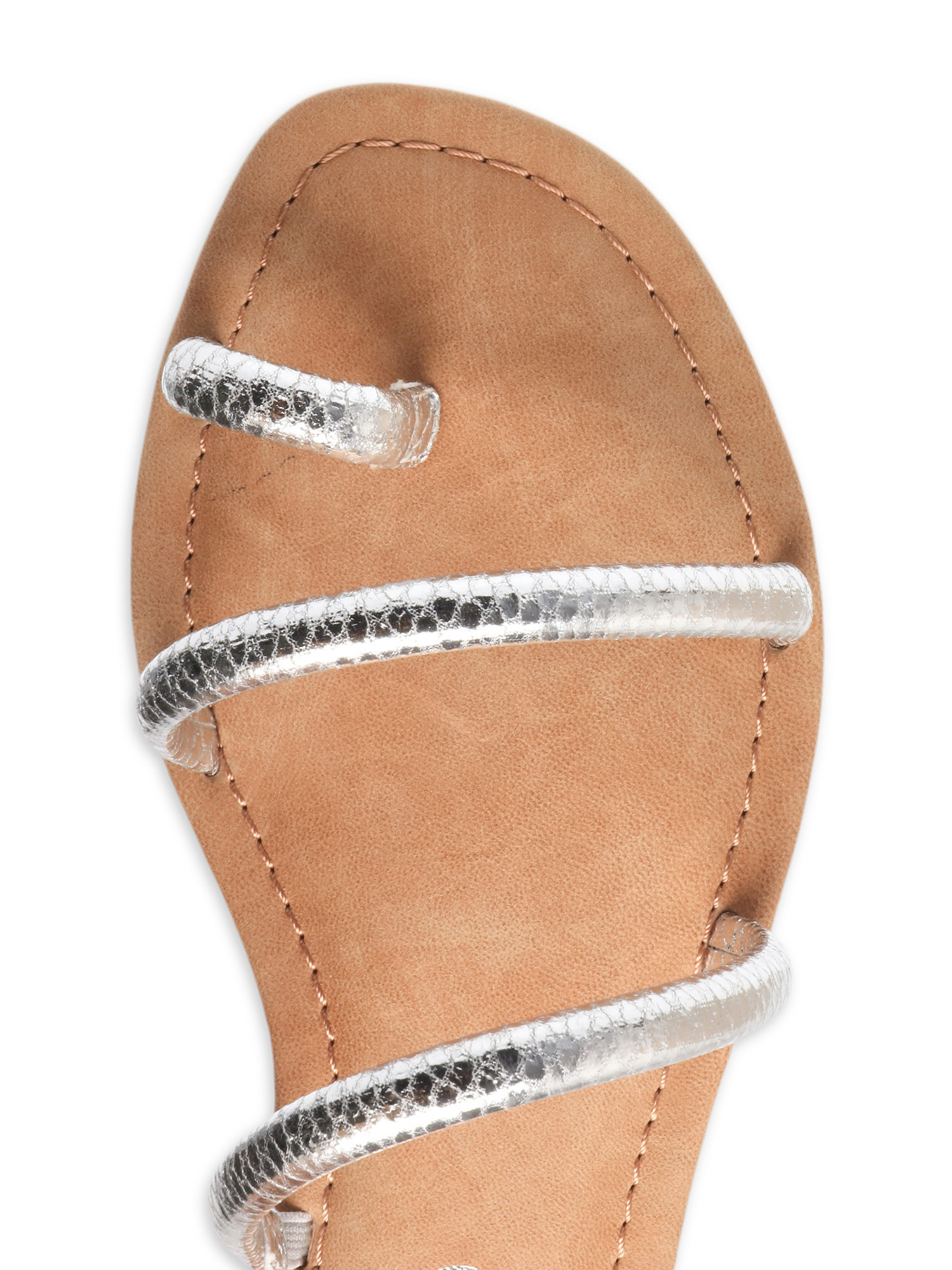 A top-down view of a silver strap sandal with light brown leather insole