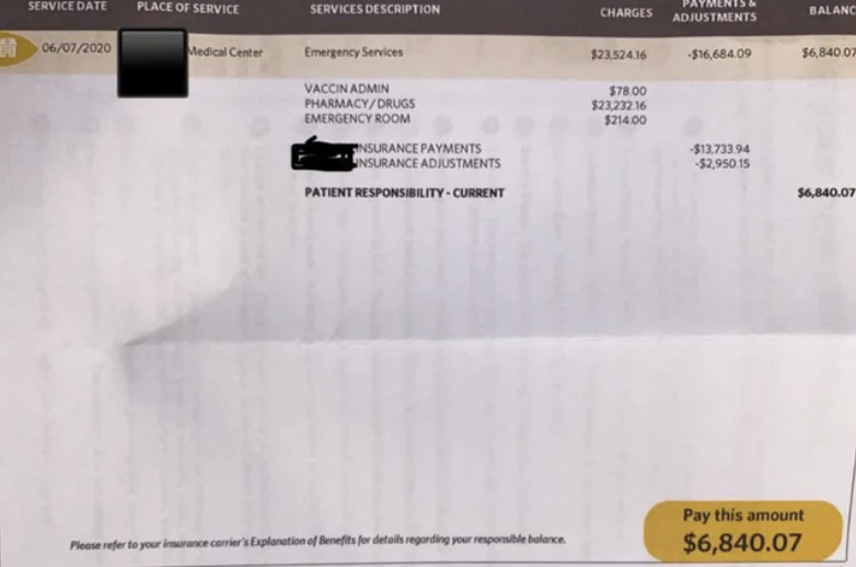 "A medical bill for a vaccine that reads ""$6,840.07"" on the bottom."