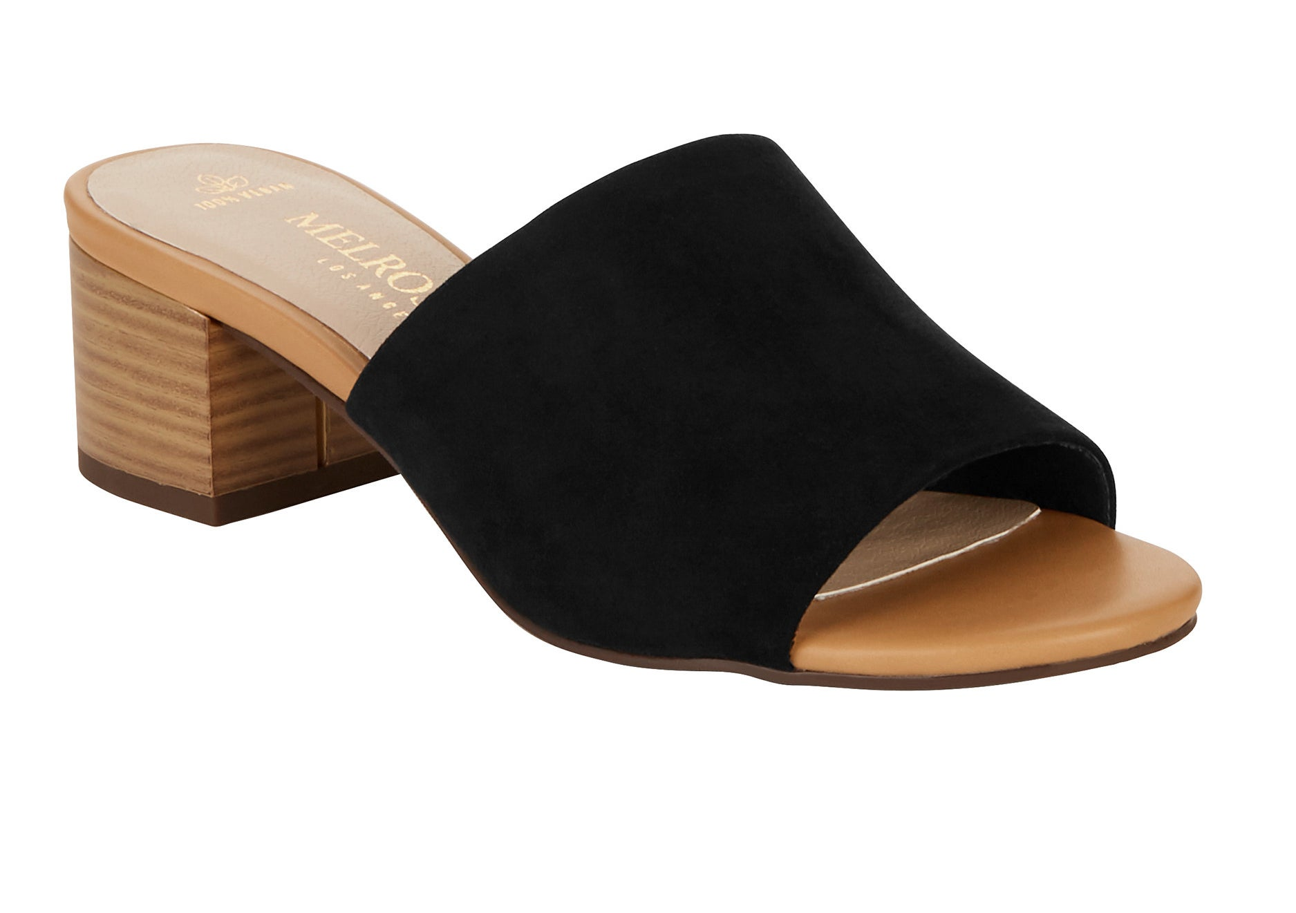 A black suede block heel slide sandal with a tan insole