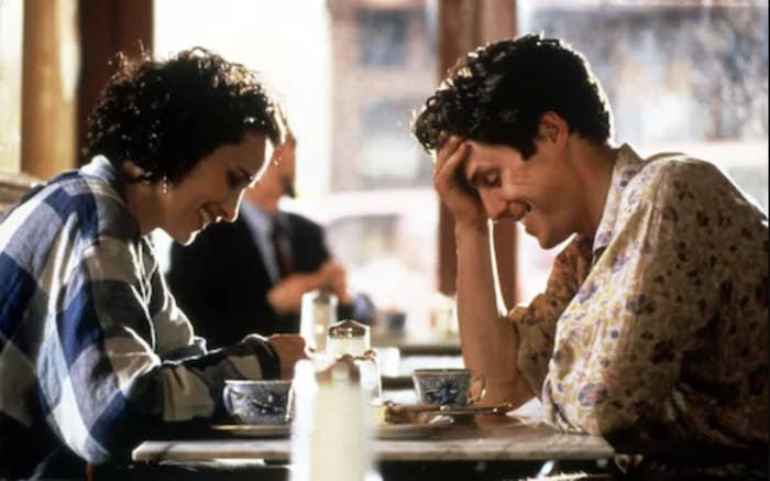 Andie Madowell and Hugh Grant in Four Weddings and a Funeral