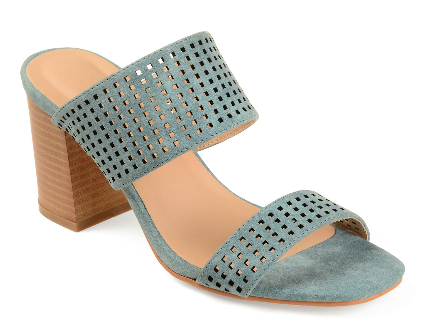 A light blue heeled mule sandal with a tan insole and heel