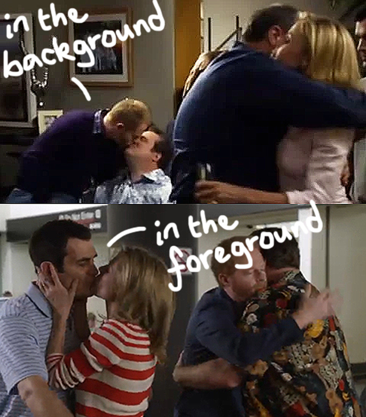 A dual image shows Mitch and Cam, a gay couple from Modern Family, kissing in the background of a shot and the other image shows a straight couple kissing in the foreground. Handwritten text on top points this out