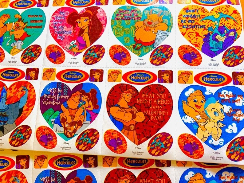 A set of Disney Hercules-themed Valentine's Day sticker cards.