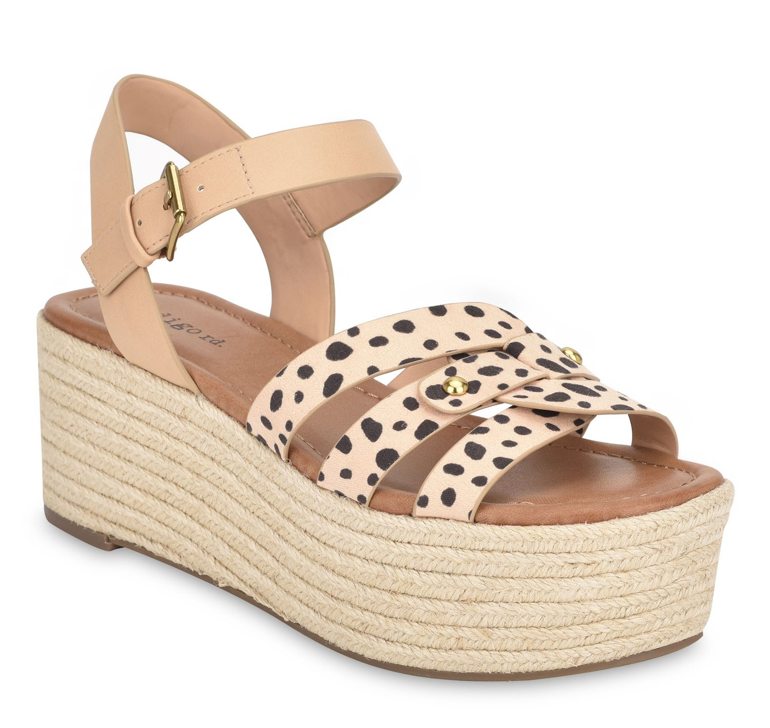A natural multi-colored platform strappy sandal