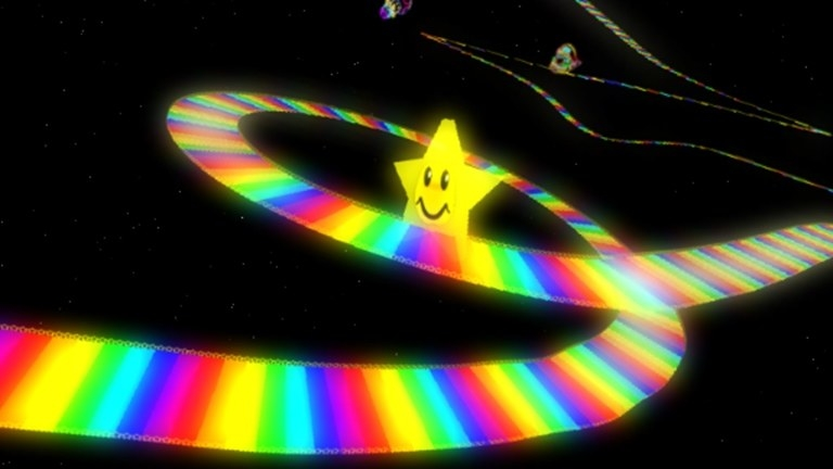 "A screenshot of Rainbow Road from ""Mario Kart 64."""