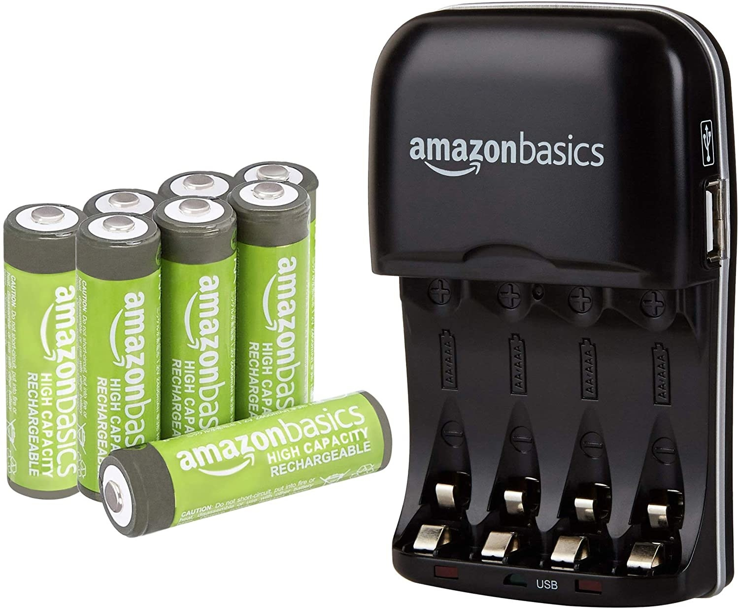 Eight lime green and gray colored Amazon rechargeable AA batteries and a black charger