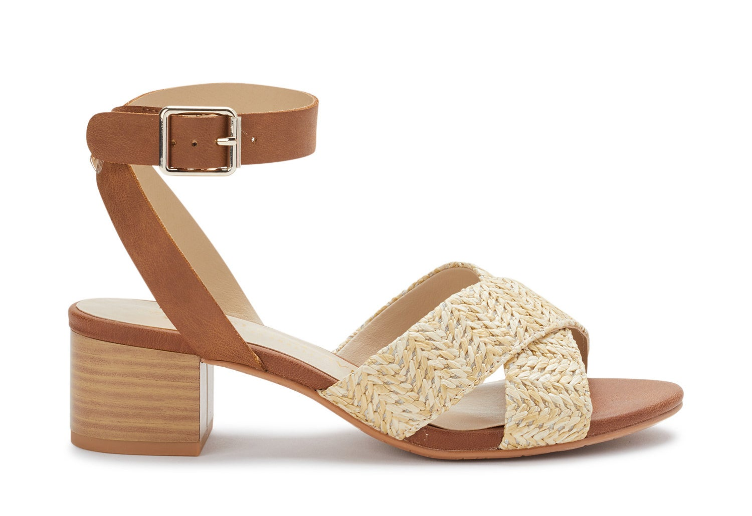 A natural raffia/cognac-colored ankle-strap low block heel sandal