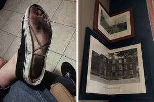 Shoes with no soles and frames altered to fit the corner of a room