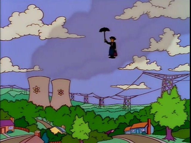 Sherry Bobbins drifts towards Springfield from the sky holding an umbrella in 'The Simpsons' in the style of Marry Poppins