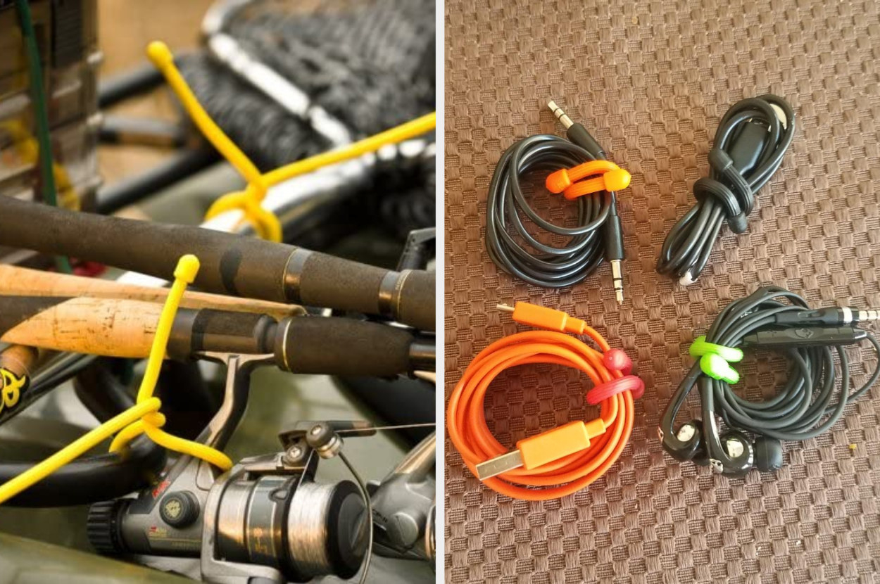 Side-by-side image of yellow twist ties on fishing rods and multi-colored twist ties around electronic cables