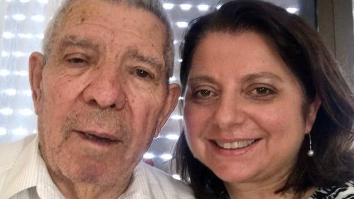 Natalia Southern and her father, Manuel, smile at the camera for a selfie.