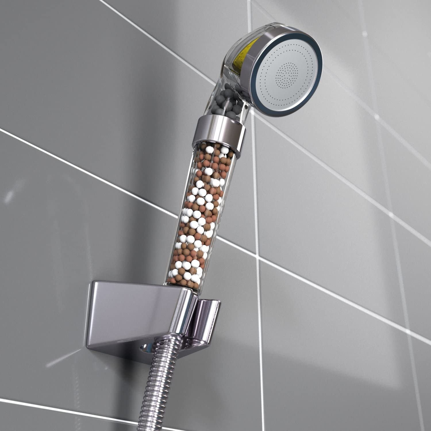 The showerhead filled with filter beads