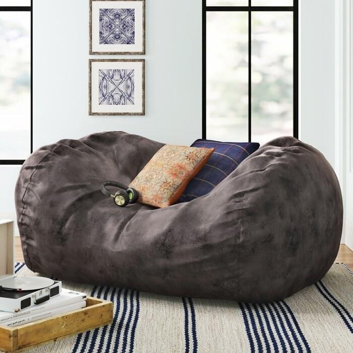 Large bean bag sofa in charcoal microfiber