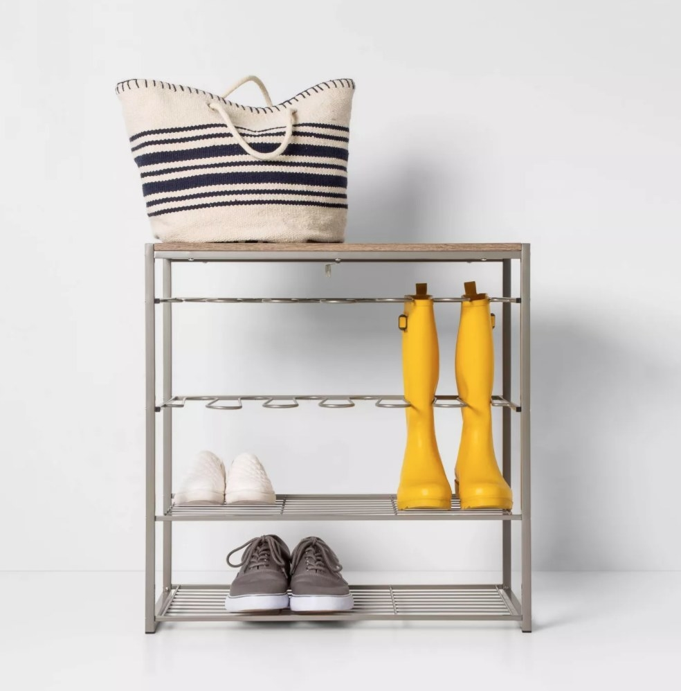The silver four-tier shoe rack with wooden topper