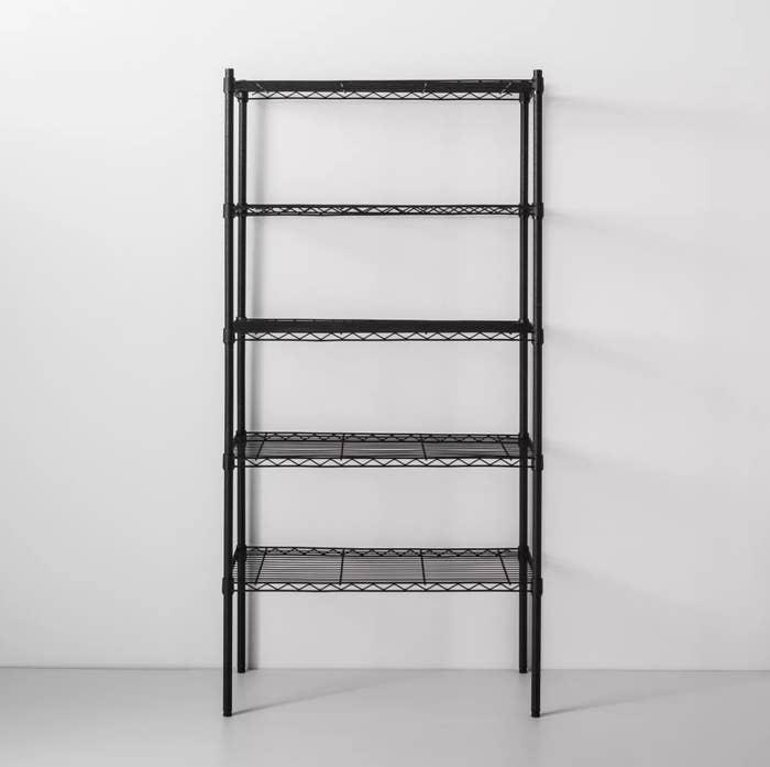 The five-tier black metal shelf