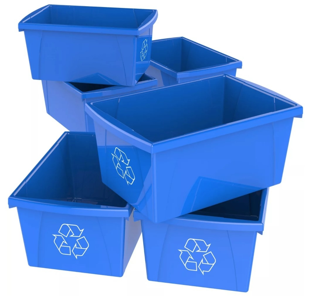 The six large recycling bins