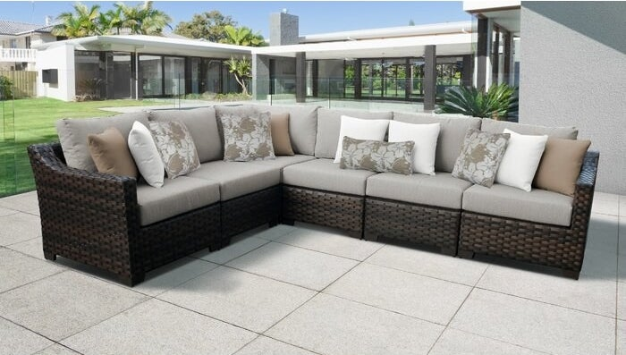 Patio sofa sectional with cushions in single ash color