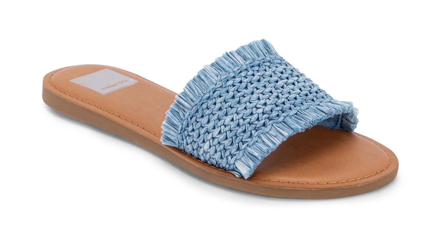 A woven light-blue slide sandal with a light brown insole