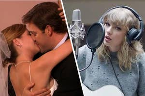 Jim and Pam from the Office kissing on their wedding day next to Taylor swift writing a song