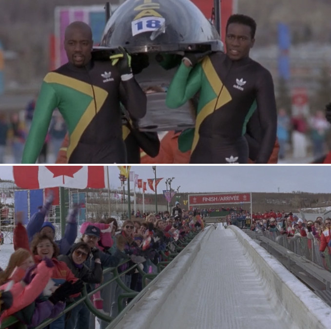 The Jamaican bobsled team is carrying their sled to the finish line, determined to complete the competition like the true athletes they air; the watchers are happily cheering them on, slow clapping