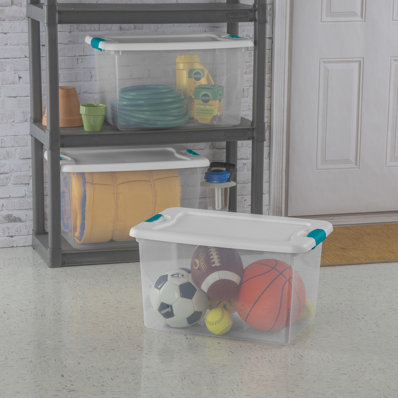 plastic see through storage bins with white latch lids