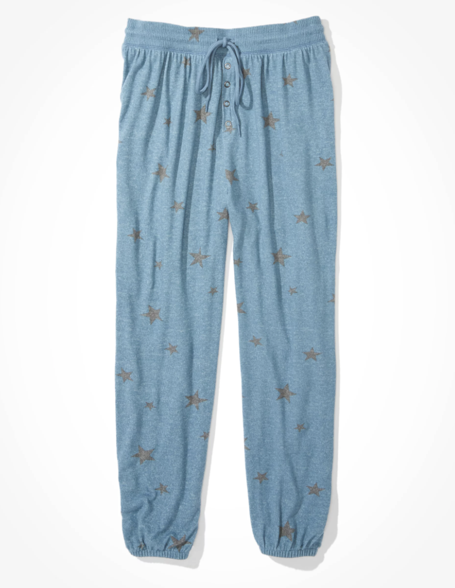 blue marled sweatpants with silver stars on them