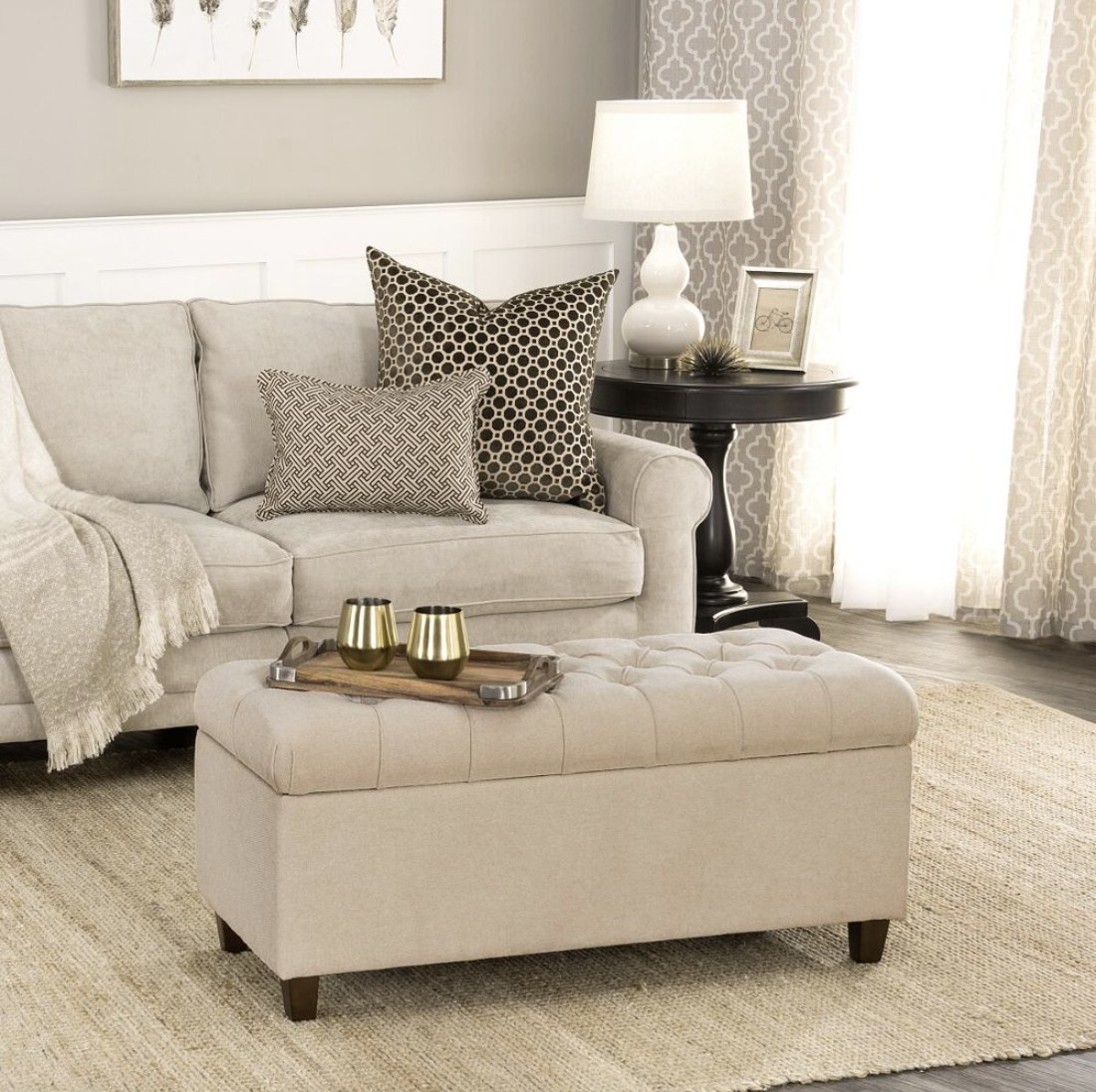 The beige bench in a living room