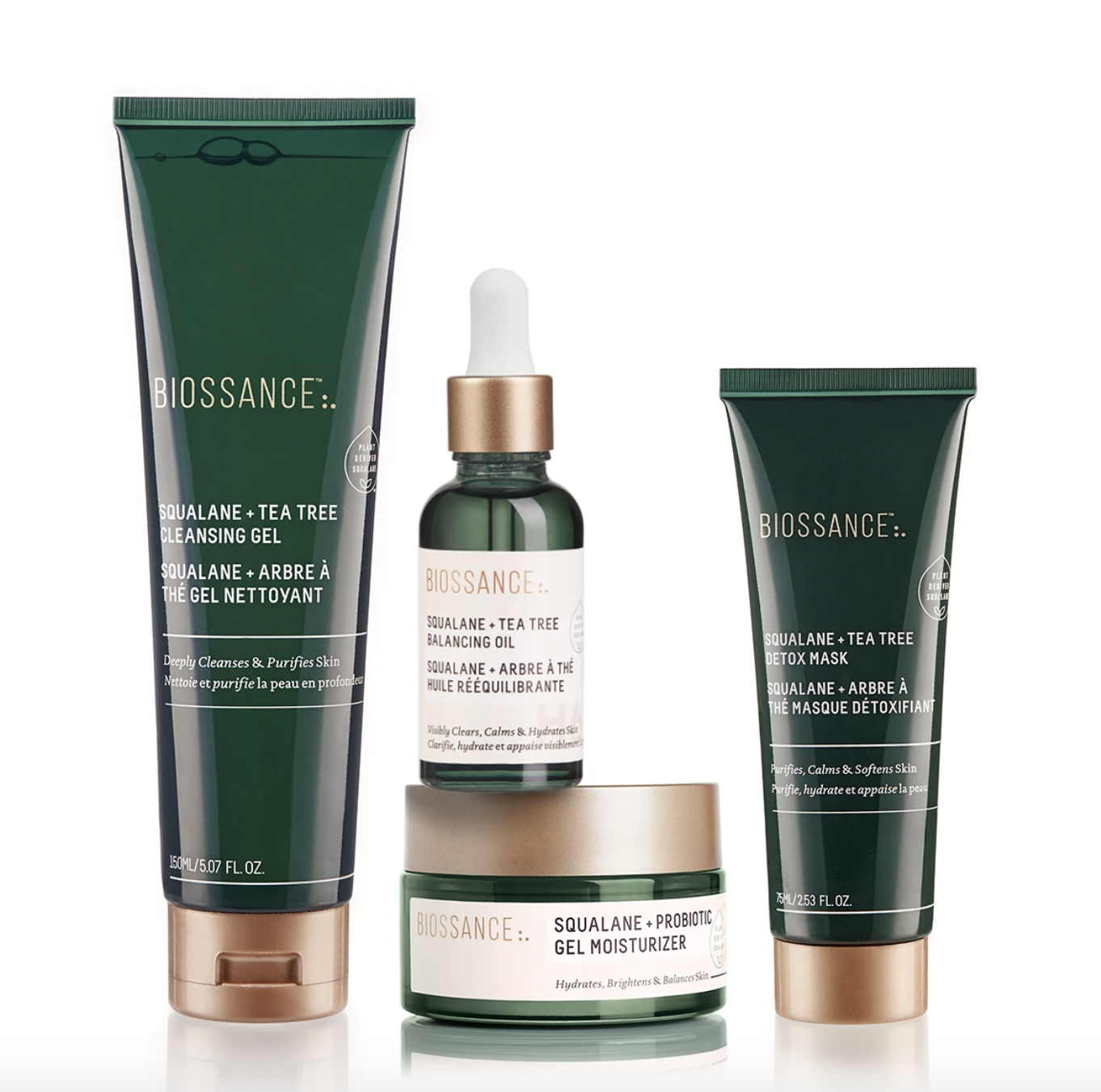 A kit with cleansing gel, balancing oil, moisturizer and a mask