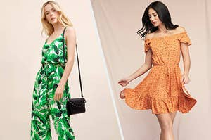 to the left: a model in a green leaf printed jumpsuit, to the right: a model in a orange floral dress