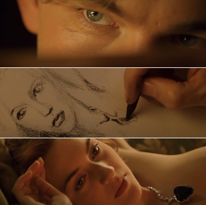 Jack focusing deeply on drawing a portrait of Rose, staring at her with love and concentration; a close-up of the unfinished sketch of Rose; a close-up of Rose lying naked on the couch, wearing nothing but a necklace, staring at Jack with love