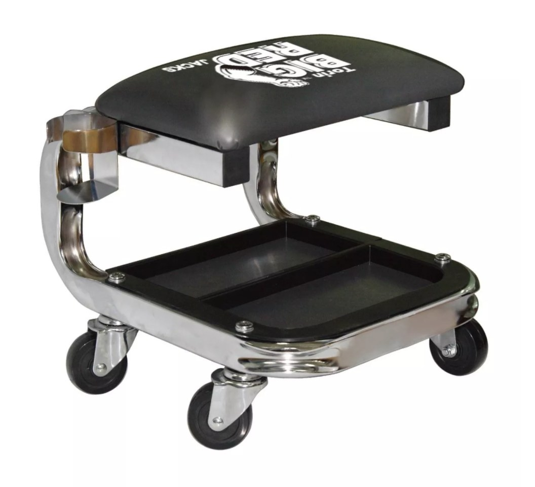The rolling stool with leather cushion and bottom tool tray