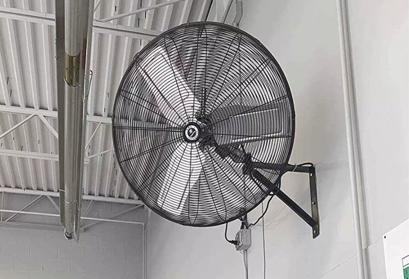 The large wall-mounted fan