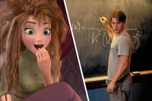 Anna from Frozen just waking up next to the mathematician from Good Will hunting