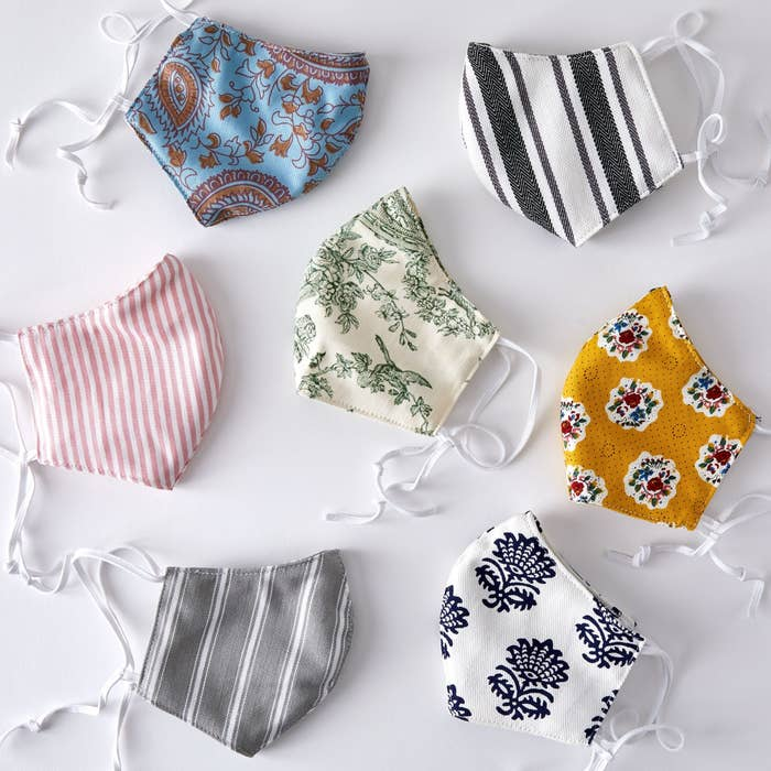 Patterned cotton face masks with adjustable strings
