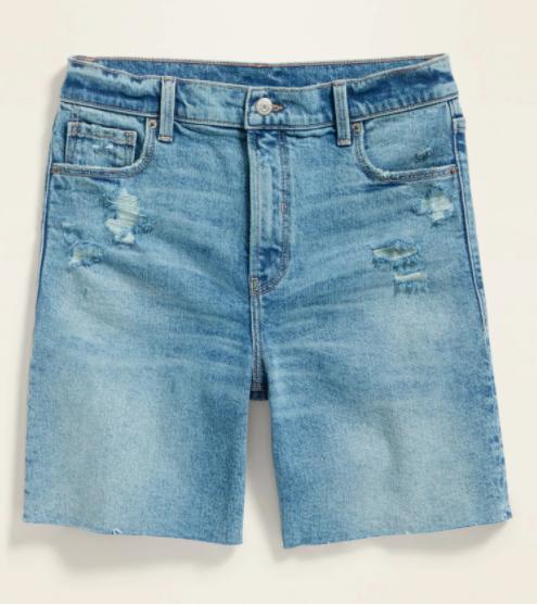 light denim distressed bermuda style shorts