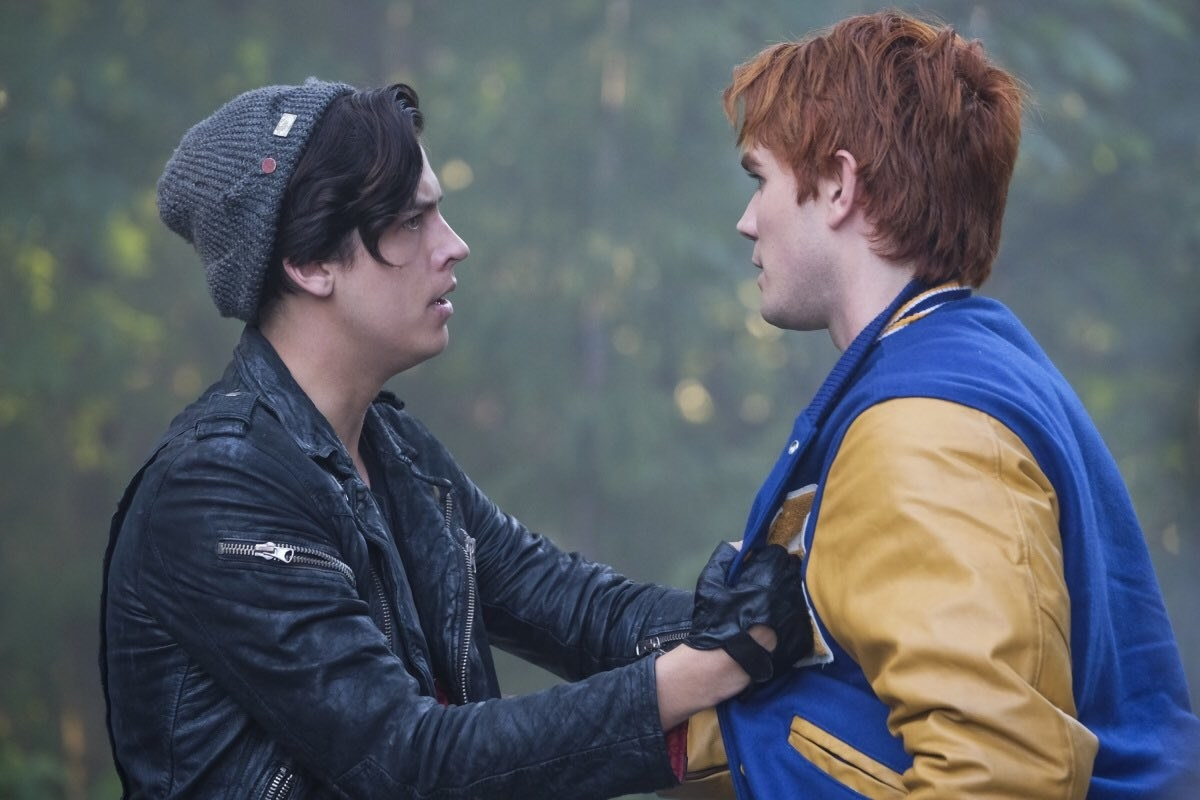 """Jughead gripping onto Archie's chest super intensely on """"Riverdale"""""""
