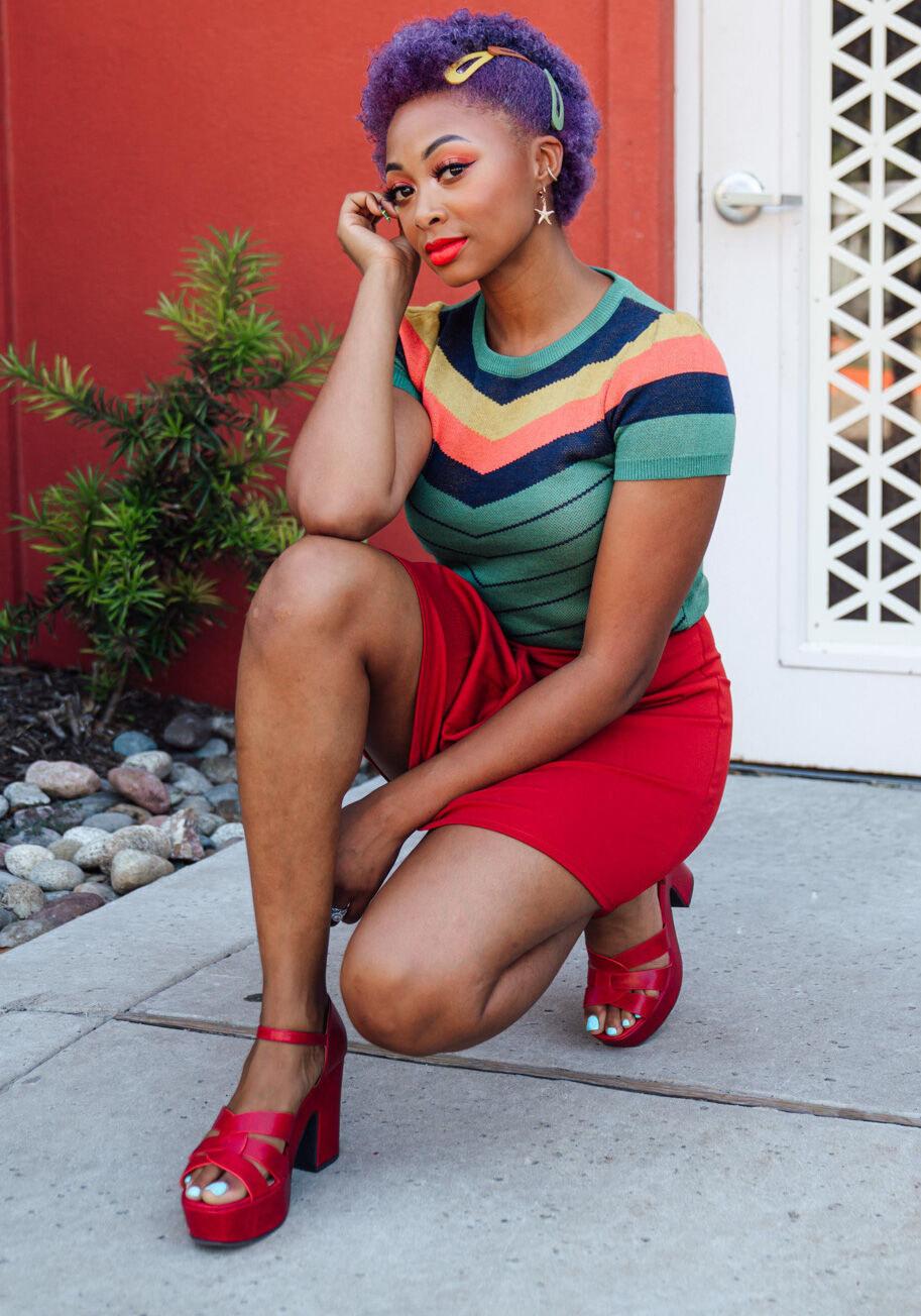 Model wearing the heels in red