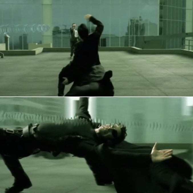 Neo dodging a slow-moving bullet by leaning his full body backwards, close to the ground but not quite touching it, successfully dodging it