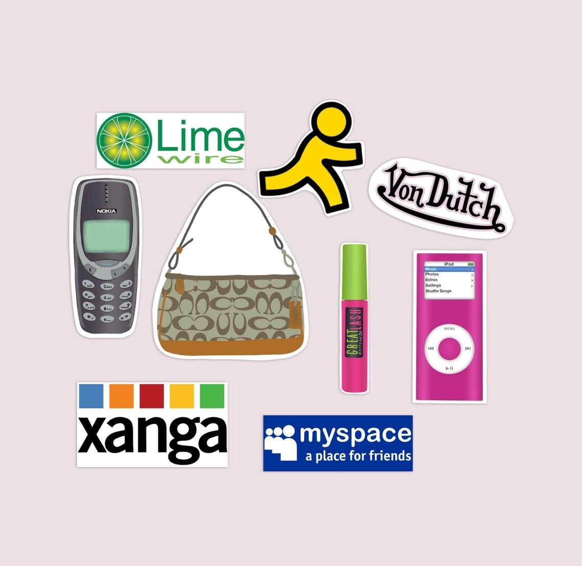 A set of stickers made to look like the logos from Myspace, Xanga, Von Dutch, and Lime Wire, and stickers meant to look like the AOL man, an old iPod, Maybelline mascara, a Coach purse, and a Nokia cellphone.