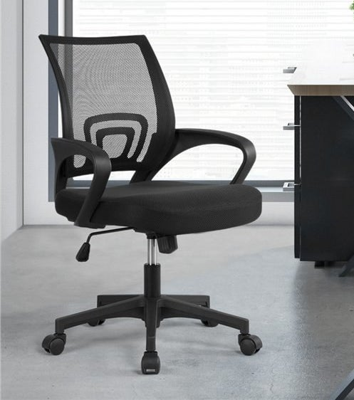 A black swivel chair