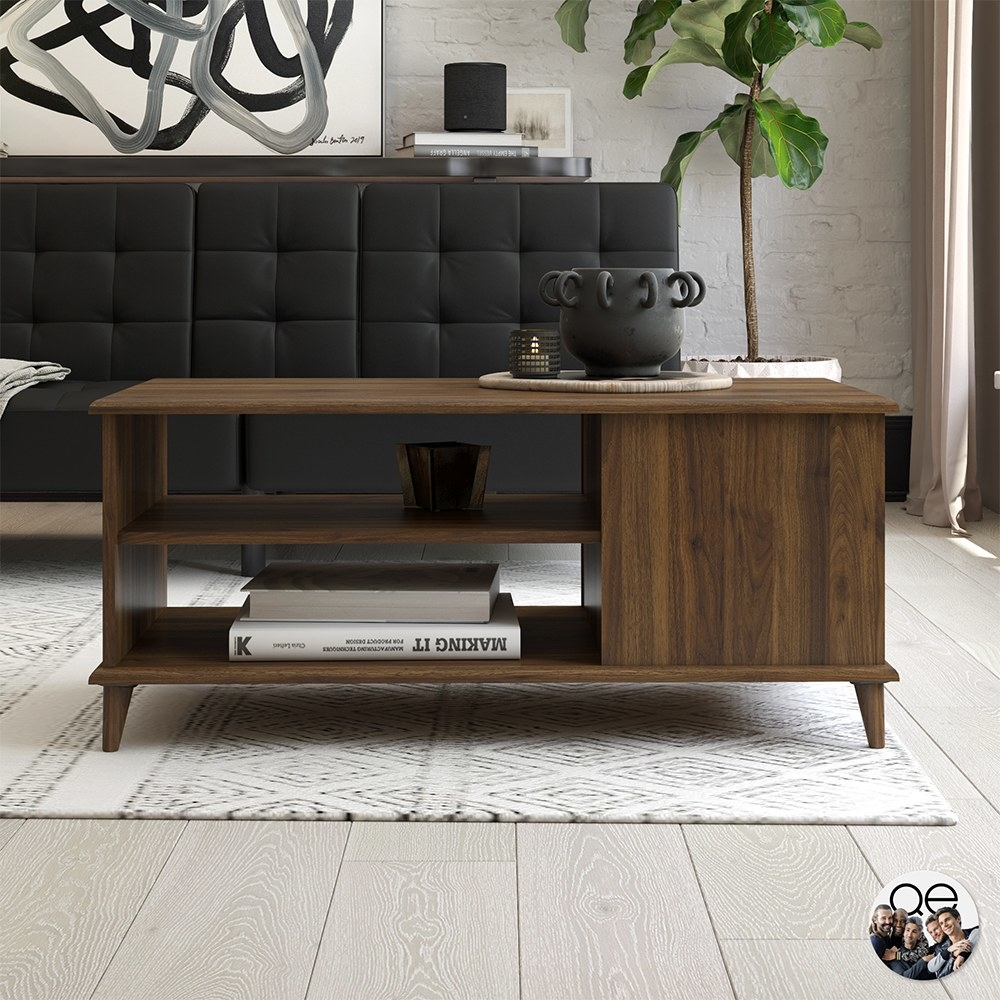 A brown coffee table with two open shelves and a cabinet