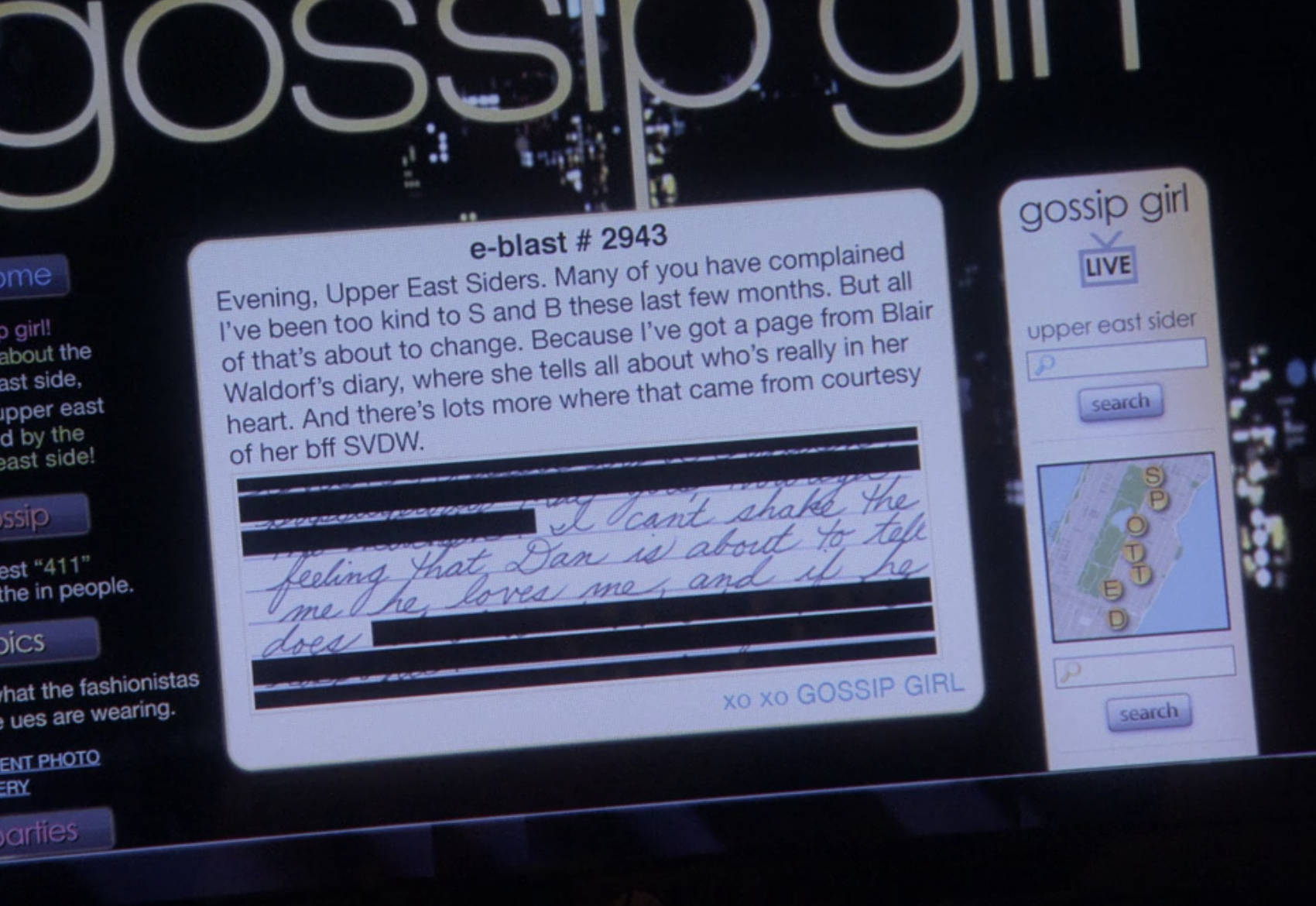 Gossip Girl homepage with a picture of Blair's diary