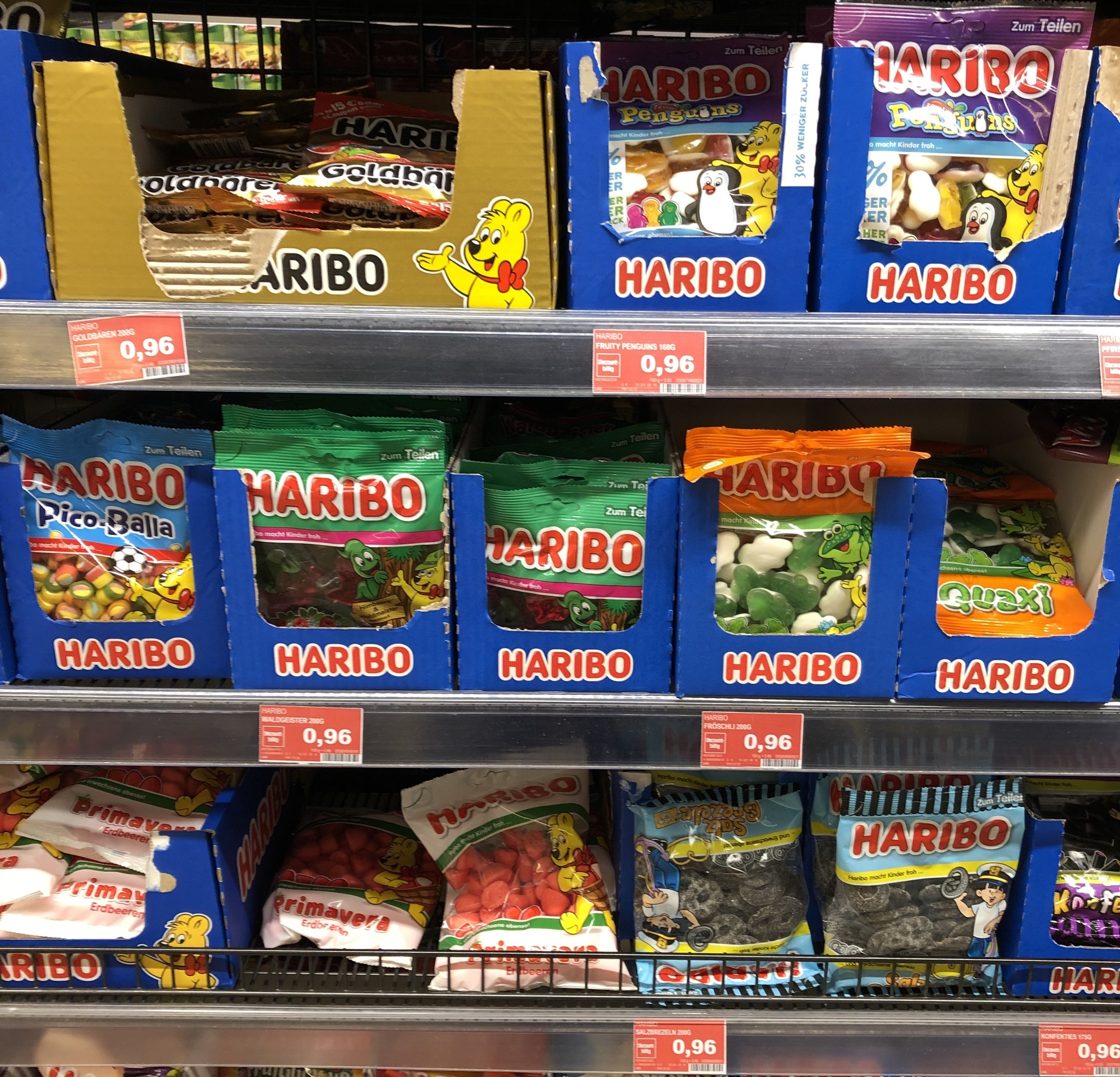 Display of Haribo gummies at a German supermarket