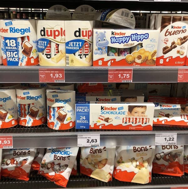 Display of Ritter and Kinder-brand chocolate at German supermarket