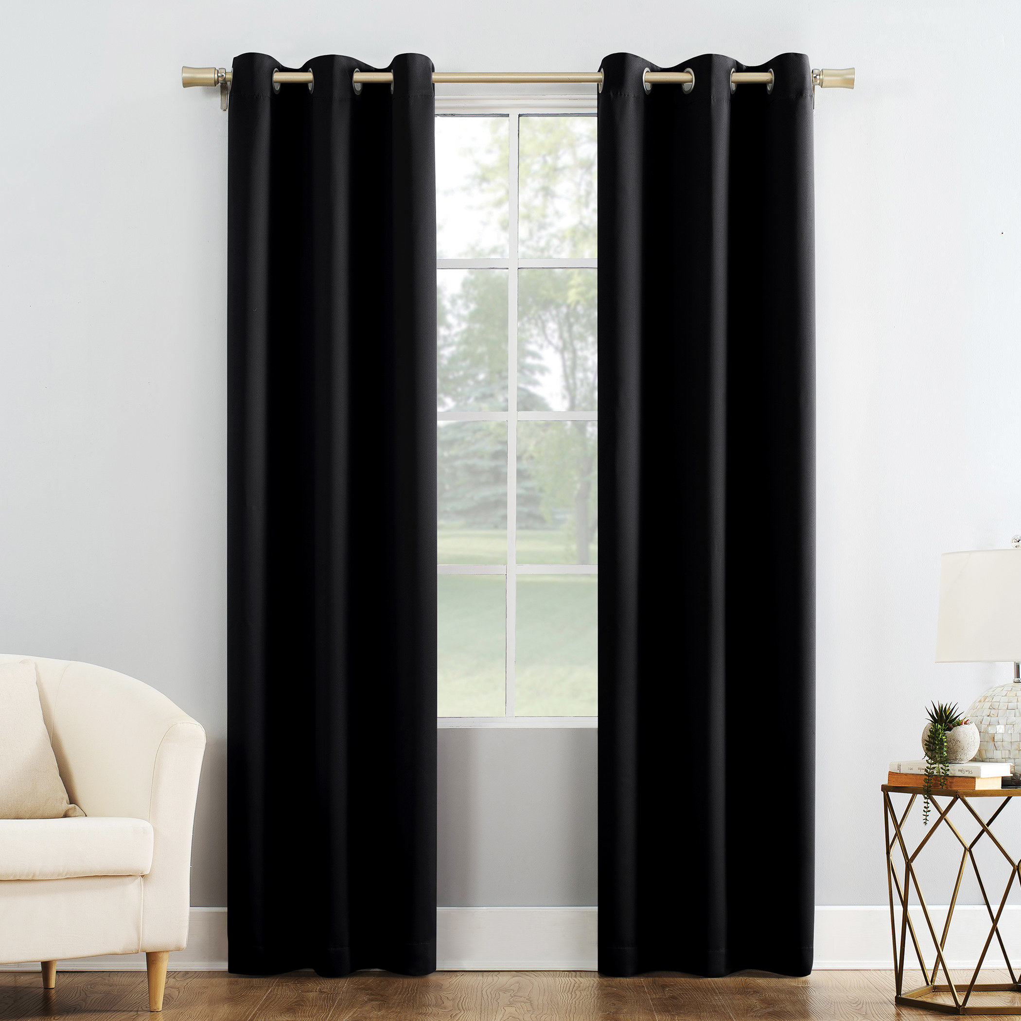 black colored blackout curtains